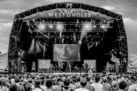Public Service Broadcasting. West Holts. Glastonbury 2014. B/W.